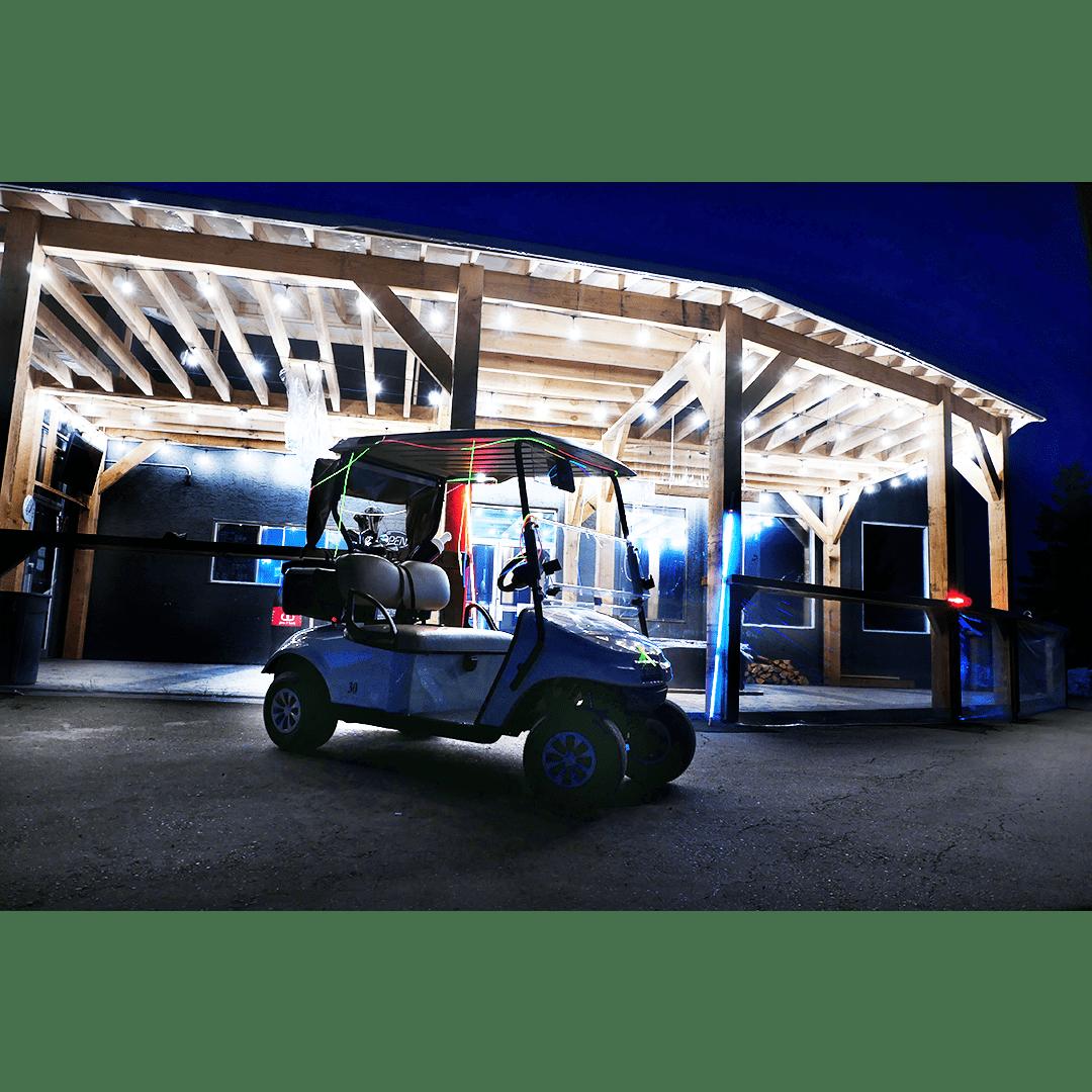 Night golf, golf cart